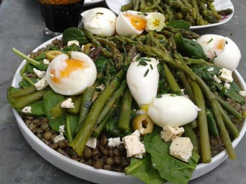 salade lentilles asperges feta epinards