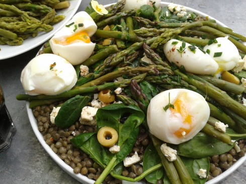 salade lentilles asperges feta