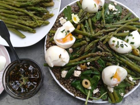 salade lentilles asperges