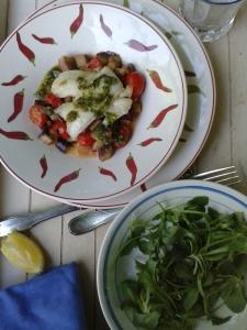 limandes pesto persil et légumes