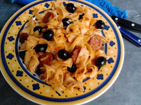 pâtes chorizo