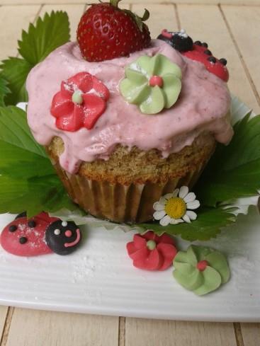 cupake fraise-matcha