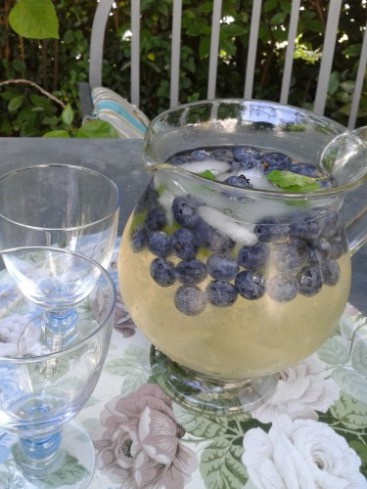 punch fruité au vin et aux myrtilles