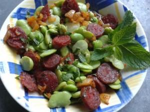 feves salade au chorizo