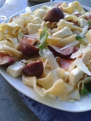 pâtes aux figues jambon