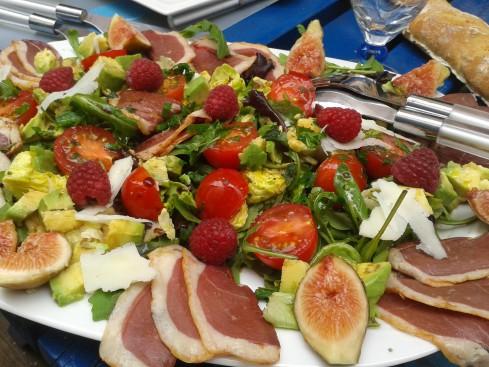 salade gasconne figues et framboise