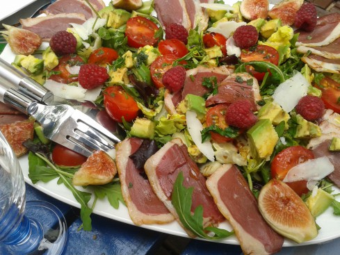salade gasconne figues framboises