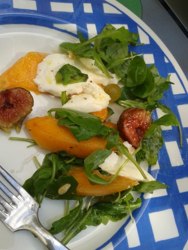 salade melon roquete raisin figues