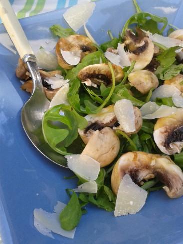 salade roquette champignons parmesan