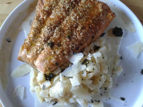 saumon mariné et roti