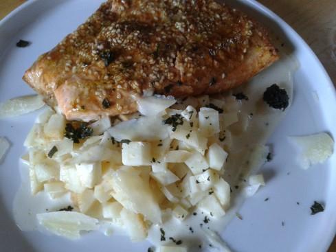 saumon marine roti
