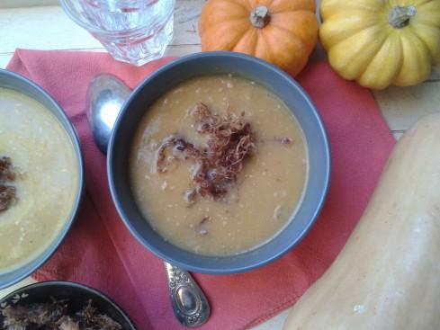 soupe butternut effilochée de canard confit