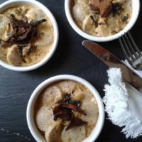 Cassolettes de boudin blanc sauce au foie gras et aux cèpes