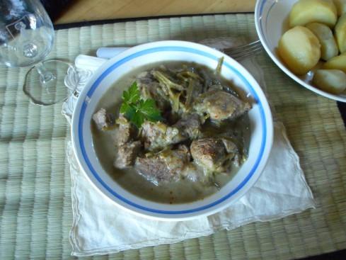 sauté agneau artichauts haricot vert 2